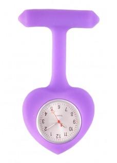 Silicone Heart Nurse Fob Watch Purple