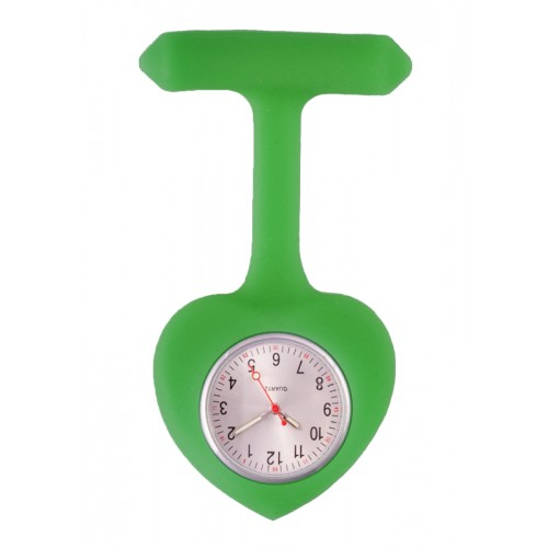 Silicone Heart Nurse Fob Watch Green