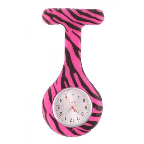 Nurses Fob Watch Zebra Pink