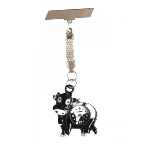 Cow Black Nurses Fob Watch