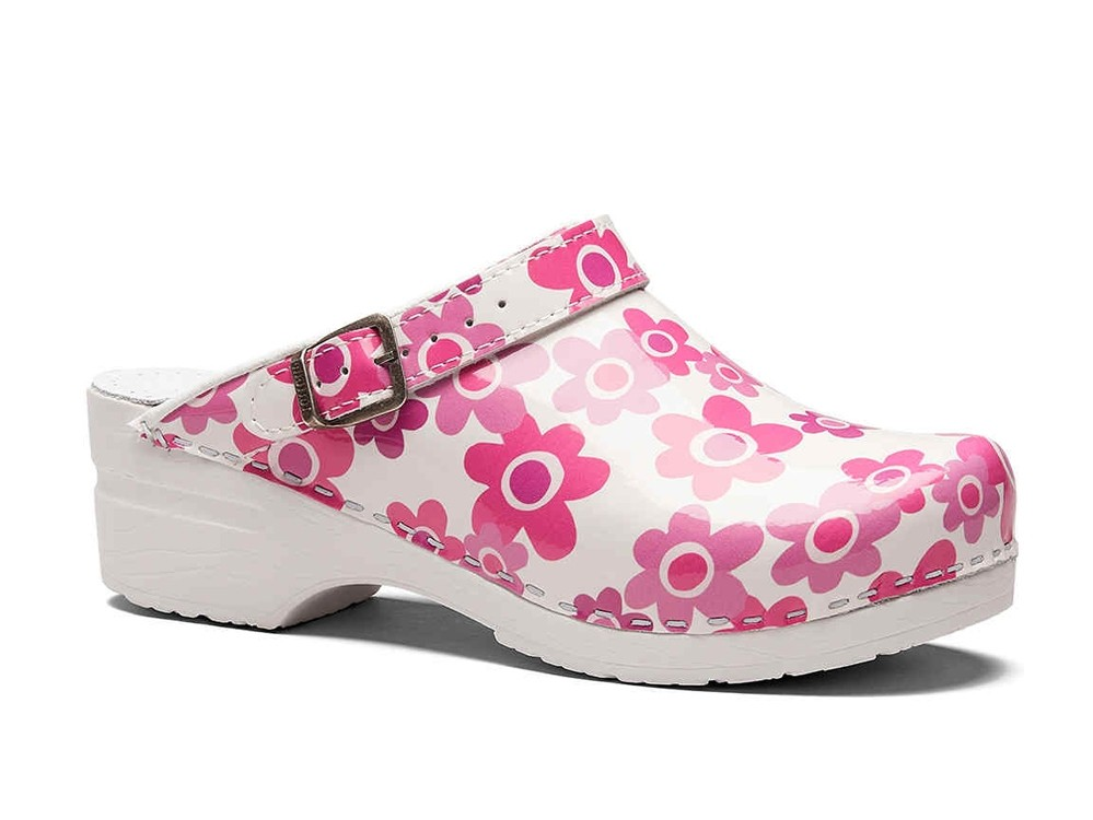 Toffeln Flexi Clog Pink Flower for