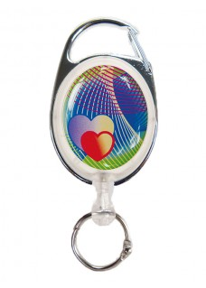 Deluxe Retractable badge/ID Hearts with carabiner