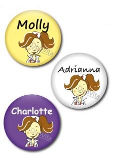 Button Nurse Brunette Hair