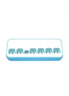 Metal Stationary Case Blue Elephants