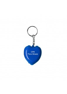CPR Mask Key Ring Heart Blue