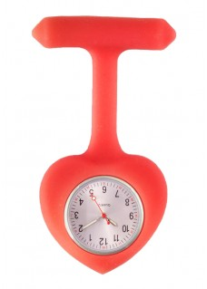 Silicone Heart Nurse Fob Watch Red