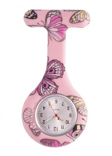 Nurses Fob Watch Butterfly Pink DISABLED
