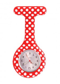 Nurses Fob Watch Polka Dots Red