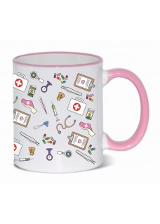 Mug Medical Symbols Pink