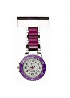 Nurses Fob Watch Silver Purple