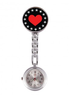 Fob Watch Heart Bling