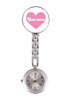 Fob Watch Pink Heart