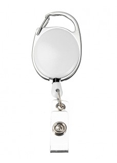 Retractable Badge/ID Holder Carabiner White