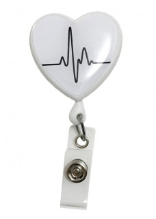 Retracteze ID Holder Heart ECG White