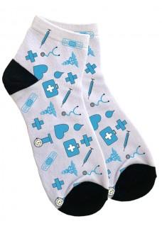 Women's Ankle Socks Medical Symbols Blue