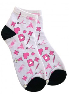 Women's Ankle Socks Medical Symbols Pink