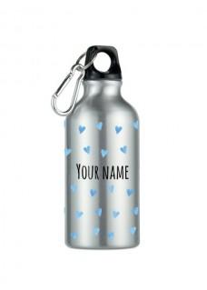 Sport Drink Bottle Blue Hearts Silver