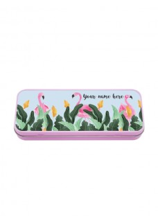 Metal Stationary Case Flamingos