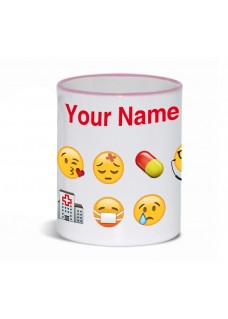 Mug Emoji Nurse with Name Print Pink