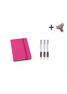 Set Notebook A6 + Pens Pink