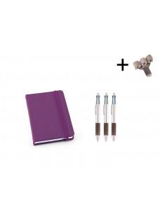 Set Notebook A6 + Pens Purple