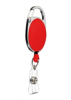 Retractable Badge/ID Holder Carabiner Red