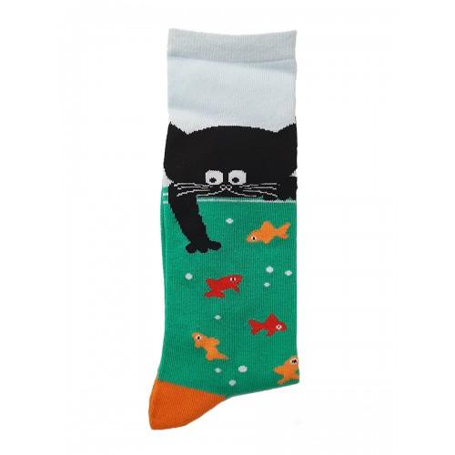 Happy Womens Socks Cat