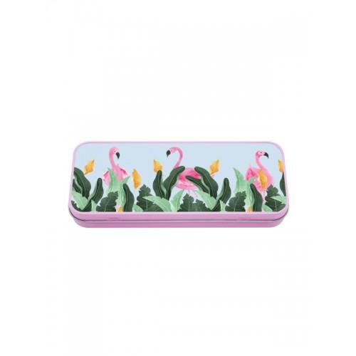 Metal Stationary Case Flamingos