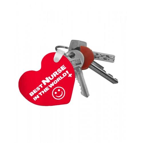 Key Chain Heart Best Nurse World with Name Print