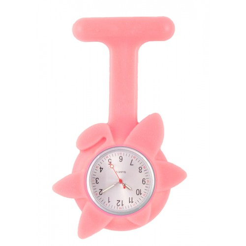 Silicone Spring Flower Fob Watch Pink