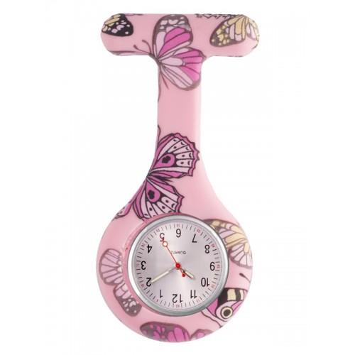 Nurses Fob Watch Butterfly Pink