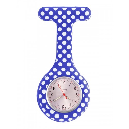 Nurses Fob Watch Polka Dots Blue