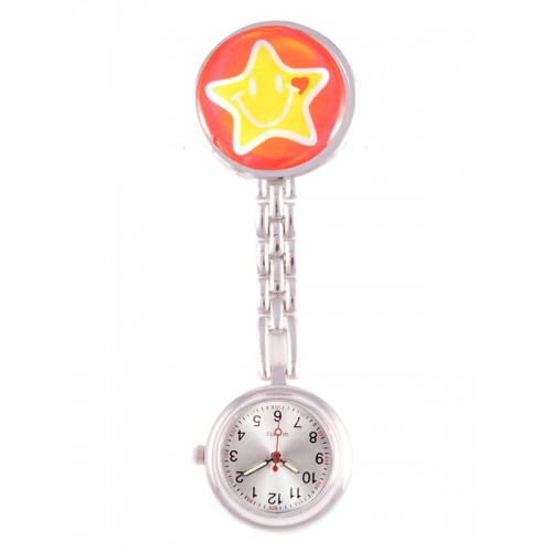 Fob Watch Happy Star Red