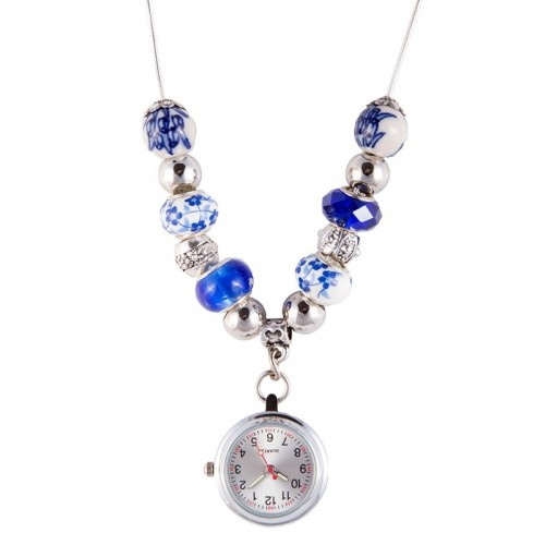 Necklace Watch Beads Pearl Antique Blue