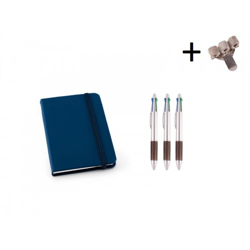 Set Notebook A6 + Pens Blue