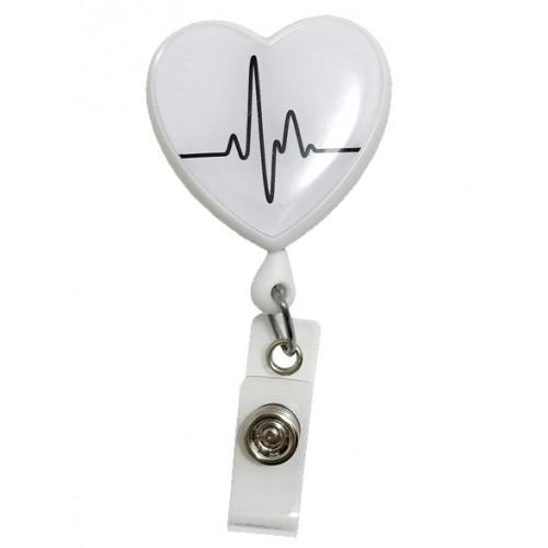 Retracteze ID Holder Heart ECG White