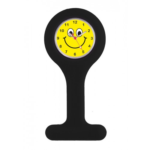 Silicone Nurse Fob Watch Black Happy Face
