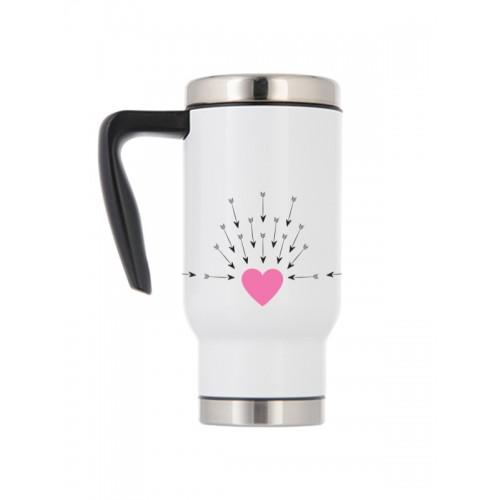 Thermo Travel Mug Heart Arrows
